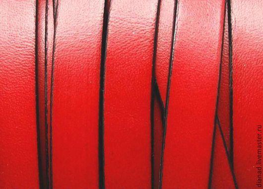 Для украшений ручной работы. Ярмарка Мастеров - ручная работа. Купить Кожаный шнур 10х2мм красный. Handmade. Ярко-красный