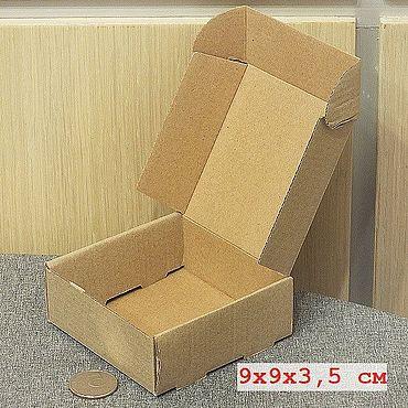 Материалы для творчества ручной работы. Ярмарка Мастеров - ручная работа 9х9х3,5 из микрогофрокартона коричневого коробка с откидной крышкой. Handmade.