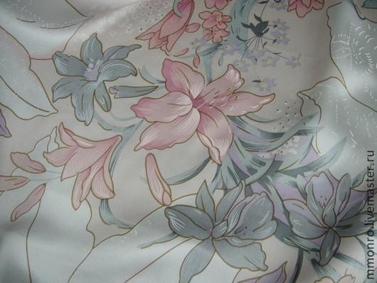 Шитье ручной работы. Ярмарка Мастеров - ручная работа. Купить Ткань натуральный шелк Лилии. Handmade. Ткань, шелк 100%