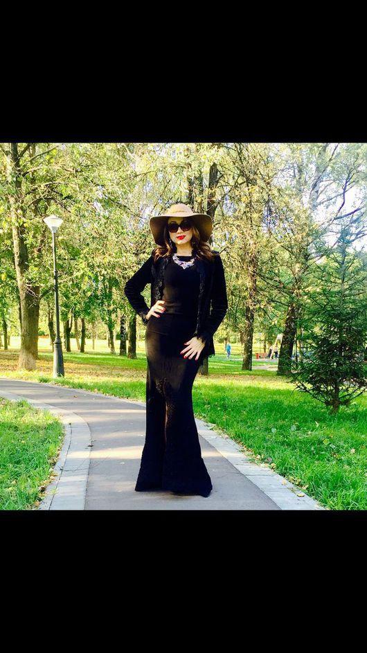 Платья ручной работы. Ярмарка Мастеров - ручная работа. Купить Роскошное черное платье со шлейфом. Handmade. Черный