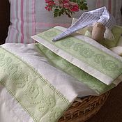 Куклы и игрушки handmade. Livemaster - original item Bedding set for doll`s bed(green lace). Handmade.
