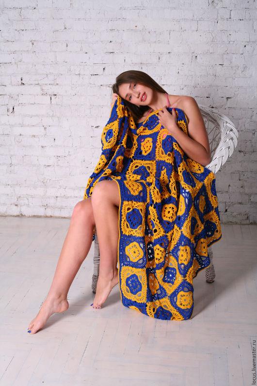 Текстиль, ковры ручной работы. Ярмарка Мастеров - ручная работа. Купить Желто-синий ажурный плед крючком. Handmade. Комбинированный