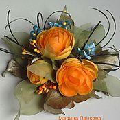 Аксессуары ручной работы. Ярмарка Мастеров - ручная работа брошь из ткани  оранжевые купавки. Handmade.