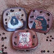 """Посуда ручной работы. Ярмарка Мастеров - ручная работа Панно - тарелки """"Коты...кофе...шоколад"""". Handmade."""