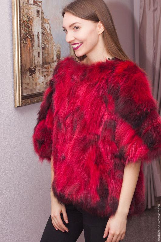 Верхняя одежда ручной работы. Ярмарка Мастеров - ручная работа. Купить Меховой свитер. Handmade. Ярко-красный, мех
