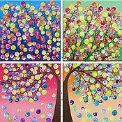 """Картины и панно ручной работы. Ярмарка Мастеров - ручная работа """"Времена года"""" Модульная картина. Handmade."""