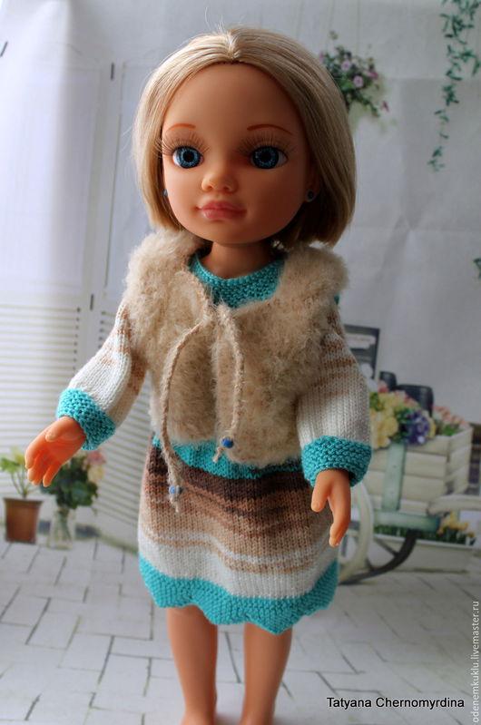Одежда для кукол ручной работы. Ярмарка Мастеров - ручная работа. Купить Платье с жилетом для  Нэнси. Handmade. Бирюзовый, нарядное платье