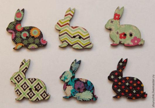 """Шитье ручной работы. Ярмарка Мастеров - ручная работа. Купить Пуговицы """"Кролик пасхальный"""". Handmade. Разноцветный, пуговицы декоративные, краски"""
