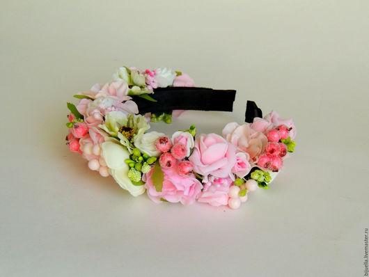 Диадемы, обручи ручной работы. Ярмарка Мастеров - ручная работа. Купить Веночек-ободок  для волос Розовая камелия. Handmade.