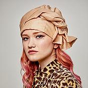 Аксессуары handmade. Livemaster - original item Convertible turban of cotton nude color. Handmade.