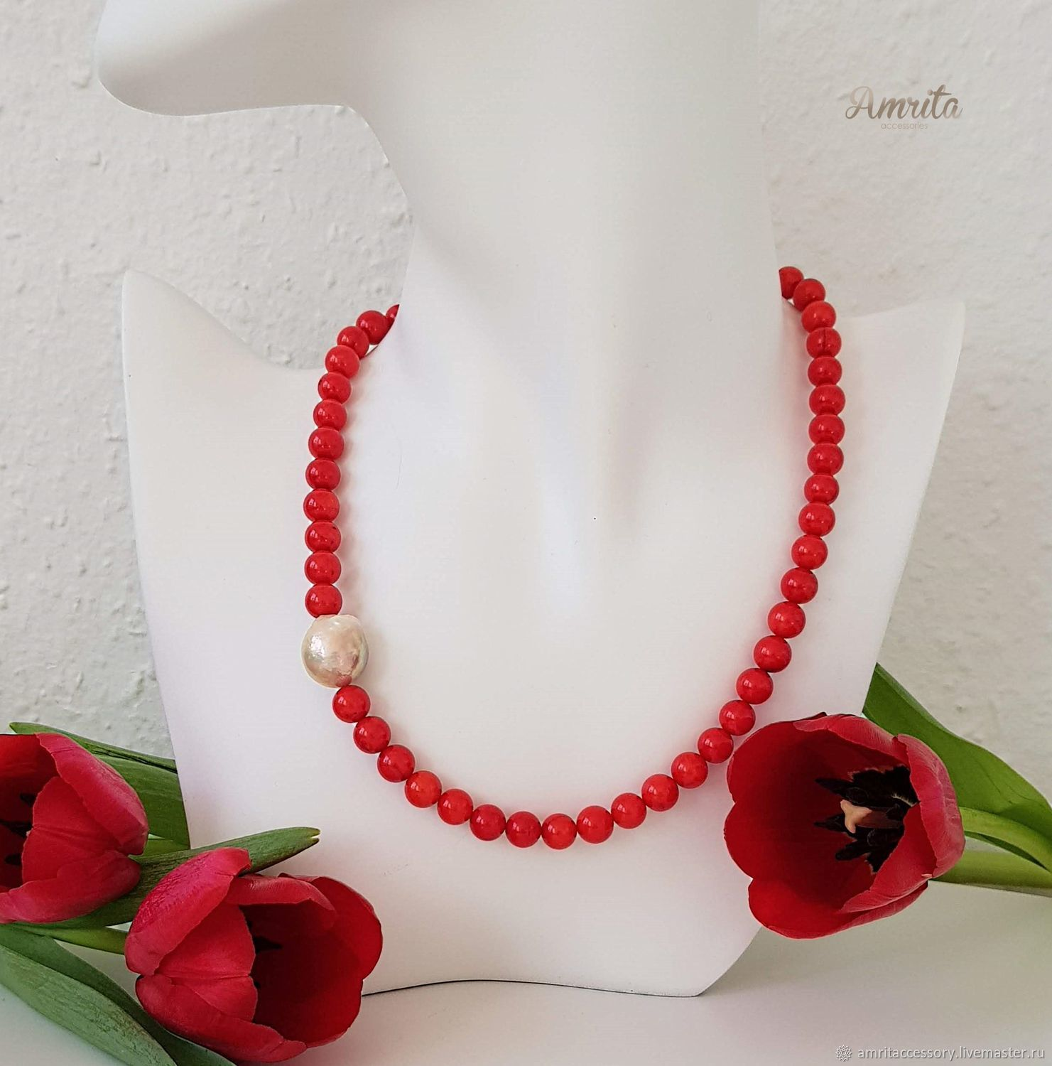 Copy of Luxurious Red Natural Bamboo Red and Pink Coral Necklace, Necklace, Moscow,  Фото №1