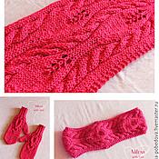 Аксессуары handmade. Livemaster - original item Set knitted Malinki - Malinka, scarf - snud, bandage and mittens.. Handmade.