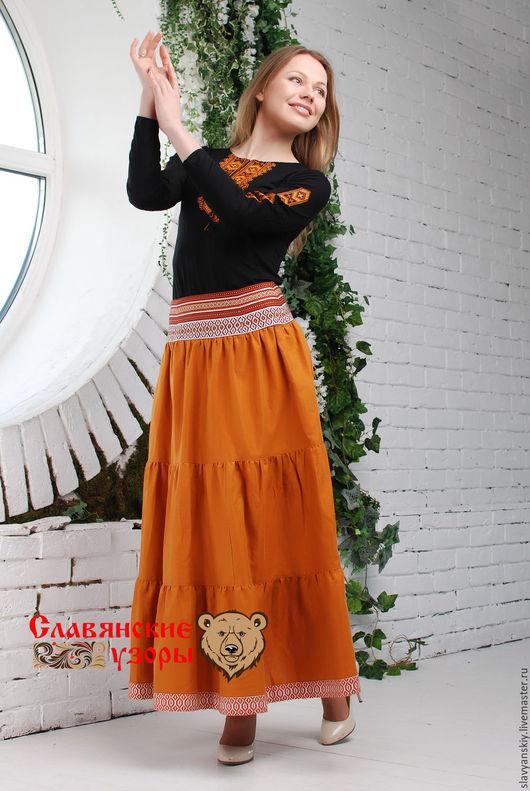 """Юбки ручной работы. Ярмарка Мастеров - ручная работа. Купить Юбочка """"Заряна"""". Handmade. Оранжевый, юбка длинная, юбка ярусами"""