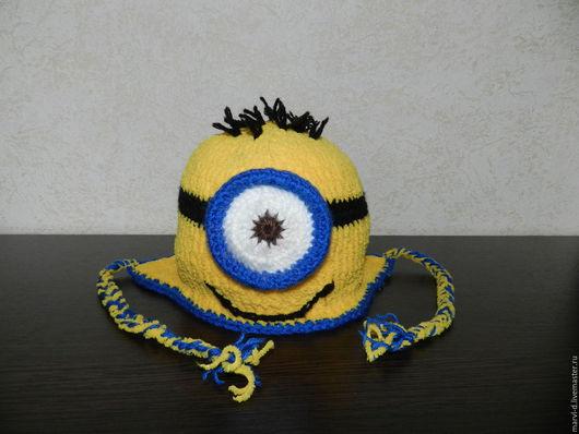 """Шапки ручной работы. Ярмарка Мастеров - ручная работа. Купить Детская шапка """" Миньон """" (двойная). Handmade. Желтый"""