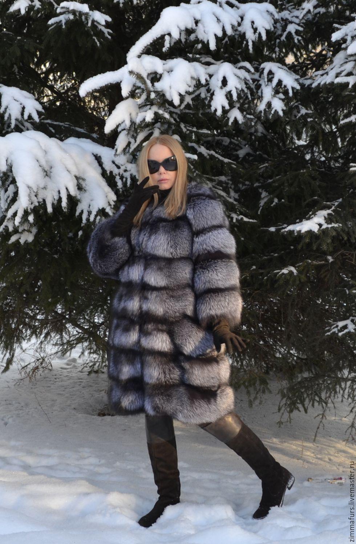 Fur coat black Fox.Sleeve 7/8. Transverse layout, Fur Coats, Omsk,  Фото №1