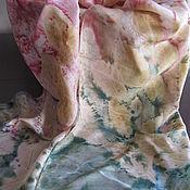 """Аксессуары ручной работы. Ярмарка Мастеров - ручная работа Шелковый шарф батик- экопринт """"Розовый сон"""". Handmade."""