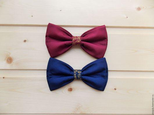"""Галстуки, бабочки ручной работы. Ярмарка Мастеров - ручная работа. Купить Галстук бабочка """"Золото"""" / темно синяя, бордовая бабочка галстук. Handmade."""