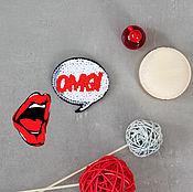 Украшения handmade. Livemaster - original item Embroidered brooch OMG. Handmade.