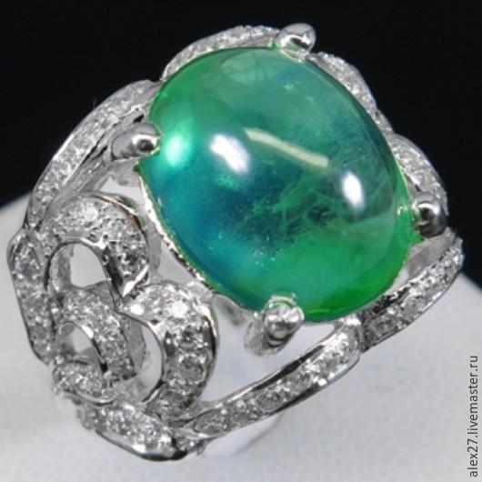 Кольцо изумруд (12,8 ct) сапфир р.18,0 серебро 925