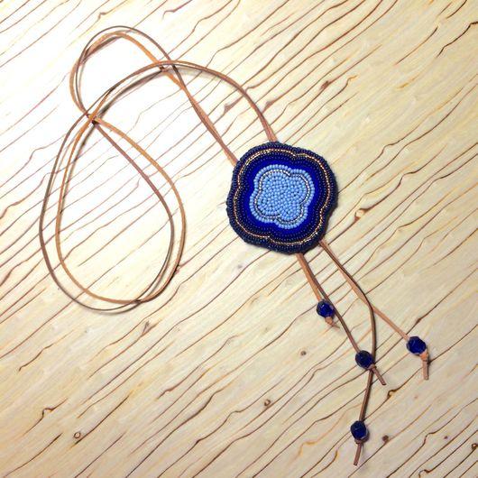 Кулоны, подвески ручной работы. Ярмарка Мастеров - ручная работа. Купить Подвеска Trefle Bleu. Handmade. Подвеска, кожа натуральная