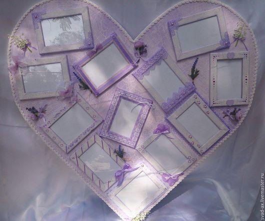 """Фоторамки ручной работы. Ярмарка Мастеров - ручная работа. Купить Большая рамка для фото """"Сердце"""". Handmade. Комбинированный"""