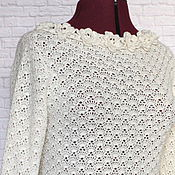 Одежда handmade. Livemaster - original item Silk, Merino. Cardigan white knitted crochet Ophelia. Handmade.