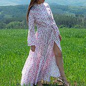 Одежда handmade. Livemaster - original item Summer, white kaftan dress with flounces - KA0195CT. Handmade.