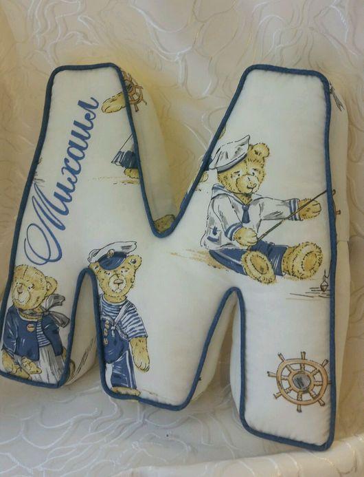 Детская ручной работы. Ярмарка Мастеров - ручная работа. Купить Подушка Буква. Handmade. Синий, буквы для интерьера, джинсовая ткань