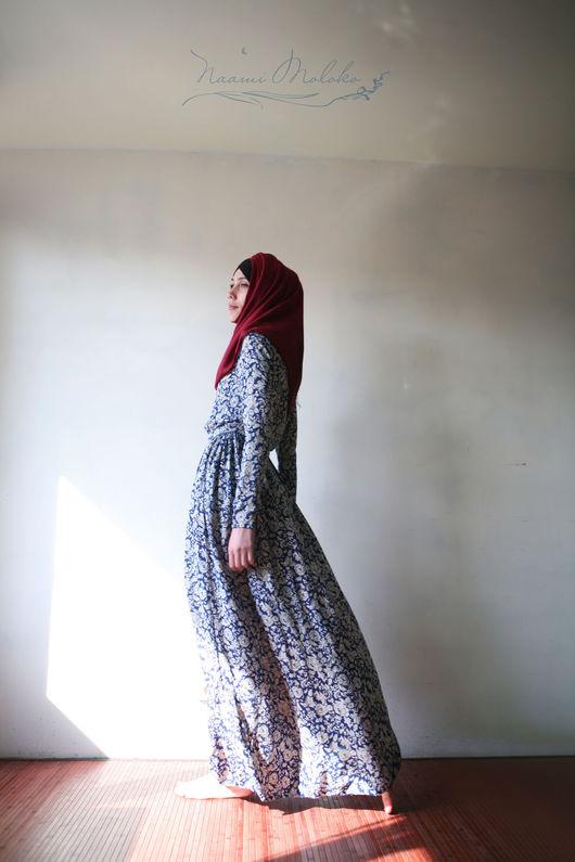 """Платья ручной работы. Ярмарка Мастеров - ручная работа. Купить Платье """"Фуад"""" СКИДКА!3800. Handmade. Тёмно-синий, длинное платье"""