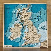 Картины и панно handmade. Livemaster - original item Map of England and Ireland in wood. British Isles.. Handmade.