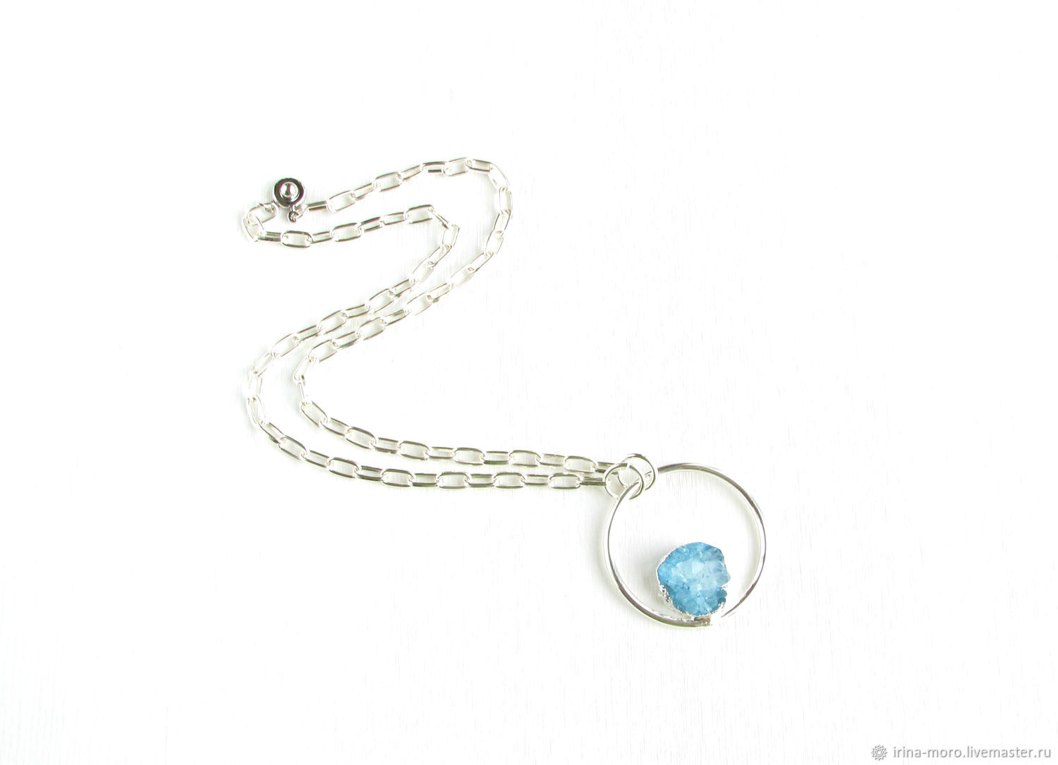 Blue pendant with quartz 'Winter lake' pendant with blue stone, Pendants, Moscow,  Фото №1