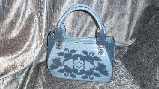 Женские сумки ручной работы. Ярмарка Мастеров - ручная работа. Купить Сумка кожаная-Серо-голубая. Handmade. Серый