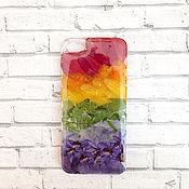 Чехол ручной работы. Ярмарка Мастеров - ручная работа Чехол на айфон 8 радуга самсунг s9 разноцветный подарок. Handmade.