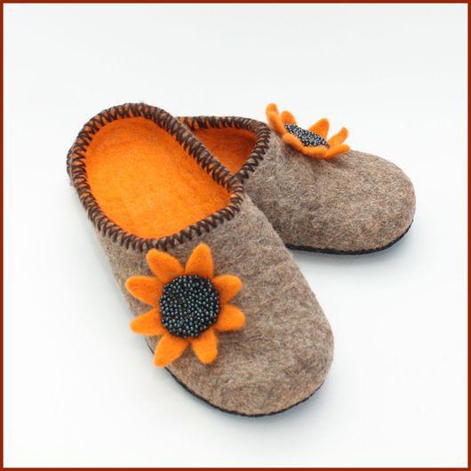 """Обувь ручной работы. Ярмарка Мастеров - ручная работа. Купить Тапочки """"Оранжевые цветы"""". Handmade. Обувь ручной работы, рыжий"""