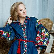 """Одежда ручной работы. Ярмарка Мастеров - ручная работа Вышитое джинсовое платье """"Яркая жизнь"""" ручная вышивка гладью. Handmade."""