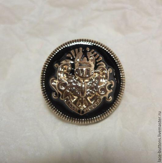 Шитье ручной работы. Ярмарка Мастеров - ручная работа. Купить Пуговица метал. с черной эмалью и золот. гербом 24мм. Handmade.