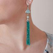 Украшения handmade. Livemaster - original item Earrings-brush of the jewelry glass sea green. Handmade.