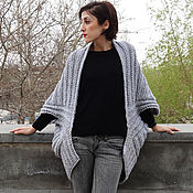 Одежда handmade. Livemaster - original item Knitted cocoon cardigan for women a shawl collar. Handmade.