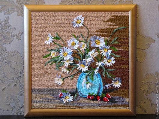 Картины цветов ручной работы. Ярмарка Мастеров - ручная работа. Купить Картина ромашки полевые цветы в вазе объемные 40х40. Handmade.