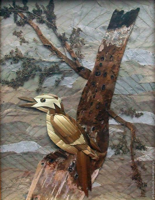 Пейзаж ручной работы. Ярмарка Мастеров - ручная работа. Купить Лесной гость. Handmade. Комбинированный, картина из бересты, листья сушеные