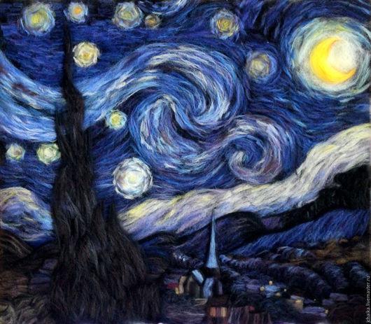 Репродукции ручной работы. Ярмарка Мастеров - ручная работа. Купить Звёздная ночь. Handmade. Тёмно-синий, синий, импрессионизм