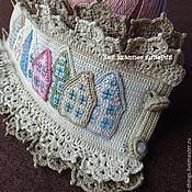 Украшения handmade. Livemaster - original item Cuff bracelet crocheted embroidered Old town. Handmade.