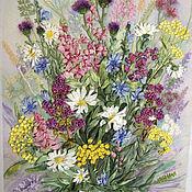 """Картины ручной работы. Ярмарка Мастеров - ручная работа Картина вышитая лентами """"Полевые цветы"""". Handmade."""