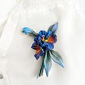 Украшения handmade. Livemaster - original item Brooch made of pansies leather