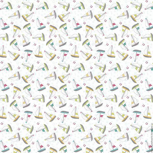 """Шитье ручной работы. Ярмарка Мастеров - ручная работа. Купить Ткань хлопок американский  """"Воскресная прогулка -парусники на белом """". Handmade."""