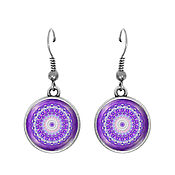 Украшения handmade. Livemaster - original item Earrings with cabochon Mandala 18 mm, art. C0102. Handmade.