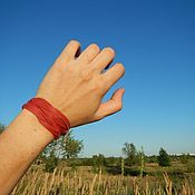 Украшения handmade. Livemaster - original item Leather bracelet wrapped braid Red. Handmade.