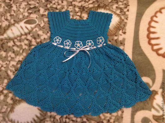 Одежда для девочек, ручной работы. Ярмарка Мастеров - ручная работа. Купить Платье для девочки. Handmade. Синий, ажурное платье