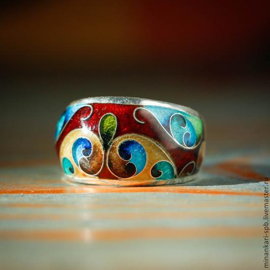 """Кольца ручной работы. Ярмарка Мастеров - ручная работа. Купить Кольцо """"Восточное"""" из серебра с эмалью. Минанкари. Handmade. ручная работа"""