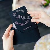 """Свадебный салон ручной работы. Ярмарка Мастеров - ручная работа Приглашение в конверте """"Чёрный с серебром"""". Handmade."""